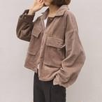 【outer】レトロ無地シンプルポケット合わせやすい着痩せジャケット