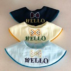 ベビースタイ360BOY (蝶ネクタイ刺繍スタイ) HELLOなど好きな言葉をオーダー可能