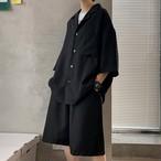 オーバーサイズ スーツ風 上下セット カジュアル セットアップ 韓国風   無地 スーツ ハーフパンツ