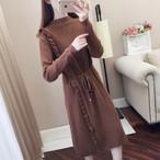 【dress】上質着やすいファッションレトロ着瘦せニットワンピース 24077461
