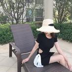 【新作10%off】waist bow solid color dress 2391