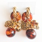 brown charm dangle earring[e-1085]