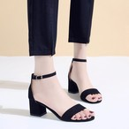 【shoes】ファッションポインテッドトゥミドルヒールストラップサンダル