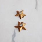 1950's 真鍮の星とラインストーン (2コ)