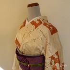 洗える着物 白と丹色に白梅の小紋 袷の着物