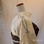 正絹紬 白地に亀甲絣の総柄小紋 単衣