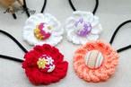 手編み 小さめお花&くるみボタンのヘアゴム