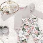 花柄 グレー 長袖 冬 赤ちゃん ロンパース カバーオール セット セットアップ 普段着 おしゃれ カワイイ 女のこ