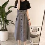 【set】カジュアル無地Tシャツ+スカートセットアップ21503629