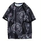 送料無料/メンズ/大きいサイズ/虎プリント/黒/半袖Tシャツ