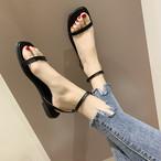 【shoes】シンプルラメ入りスクエアトゥストラップオープントウサンダル