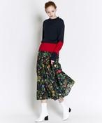 ボタニカル花柄スカート(ブラック)