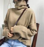 6色 タートルネック ハイネック ニット セーター ベーシック カジュアル 無地 秋冬 お出かけ デート 韓国 オルチャン