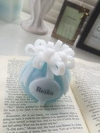 Bon bon Ribbon candle bleu