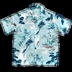 Mountain Men's  アロハシャツ  鯉の滝昇り Blue