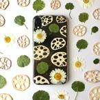 【iPhoneXRブラック】蓮の池 押し花スマホケース