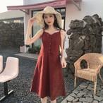 【dress】レトロチェック柄ノースリーブワンピース