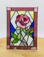 薔薇のステンドグラスプレート