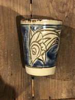 やちむん 次郎窯 魚紋 フリーカップ 筒型 ブルー