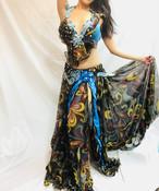 エジプト製 ベリーダンス衣装 コスチューム 水色