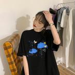 【送料無料】 華奢見えバッチリ♡ ゆるだぼ カジュアル ビッグシルエット プリント オーバーサイズ Tシャツ