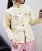Yellow embroidered China tops