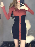 【dress】V neck hit color cross front sexy dress