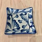 『陶眞窯』四角皿 □8.5 コバルト唐草