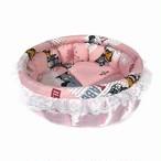 ふーじこちゃんママ手作り ぽんぽんベッド 「まんまる」 (サテン・ピンク × アメリカンキャット柄)