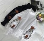 《一部即納》送込!最安値☆レトロヴィンテージブラウス シャツ ランタンスリーブ ボリュームスリーブ 花柄 刺繍 【EruMon】