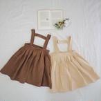 brown.サスペンダータックスカート[90-130]