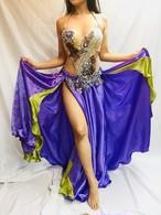 エジプト製 ベリーダンス衣装 コスチューム ライトパープル