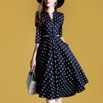 【dress】デートワンピースドット柄プリントAラインスリムドレス