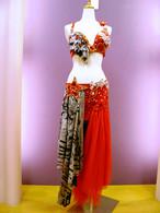 ベリーダンス衣装 ゼブラ&レッド
