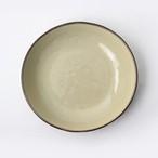 【SL-0085】磁器 22.5cm 深皿 黄土×ブラウン