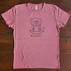 にゃんきーとすTシャツ「おやこねこ」ヘザーピンク