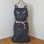猫インパクトエプロン(ブラック)【猫モチーフ 猫雑貨】
