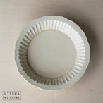 [マルヤマウエア]7寸 しのぎ深皿(灰釉)