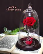 「ベルの赤いバラ」ガラスドーム 〜リングピローにも〜