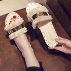 【shoes】履き心地いいカジュアルリベットスリッパ
