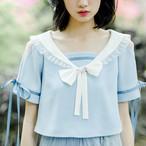 セーラー襟 青 サックス 半袖 ブラウス【15207】
