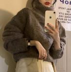 3色 ニット トップス タートルネック 長袖 ゆったり 無地 シンプル 大人可愛い カジュアル 暖かい 秋冬 韓国 オルチャン ファッション