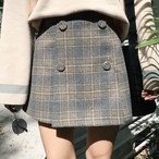 double button plaid skirts 3894