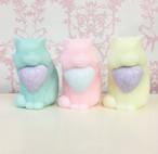 ネコのキャンドル/mint/pink/pail yellow