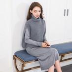 【dress】セットアップセーター+ニットワンピースレディースセット