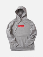 Saunner Box Logo Hooded Sweatshirt - Gray