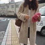 ★送料無料★ファーコート ノーカラー Ⅴネック ロング丈 大人シンプル 2色 3263