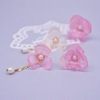 Pinkグラデーションのアシンメトリー紫陽花(ピアス/イヤリング) <RP-GH-P>
