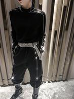 ブラックラインストーンプチハイネック 韓国ファッション