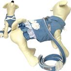 bonyndog ブルー ジーンズスカート ハーネス(花刺繍付き)